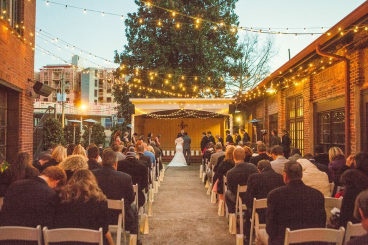 An Outdoor Winter Wedding in Athens // The Foundry | athens wedding photographer, atlanta wedding photographer, string lights, athens, nighttime, wedding, evening, ceremony
