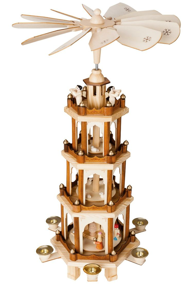 Christmas Pyramid 24 Inches Nativity Play - 4 Tier Carousel with 6 Candle Holder and Handpainted Figures by BRUBAKER Designed in GERMANY