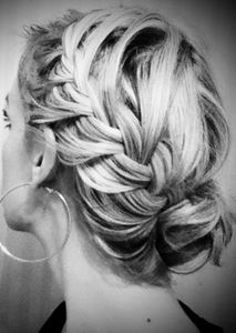Highlighted hair looks great when braided and pinned in a chic bun! Look by Teresa Enockson