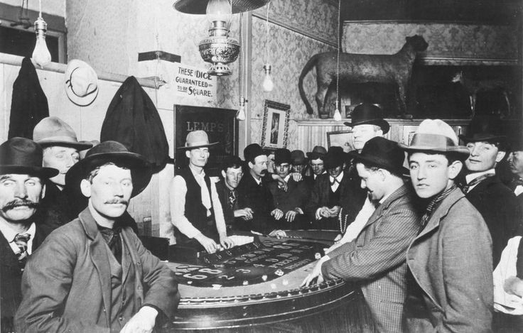 yesterdaysprint:  These Dice Guaranteed to be Square    Craps game inside a saloon Los Angeles 1898