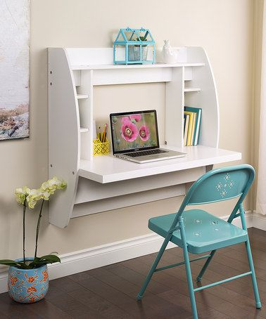 SPACE SAING IDEA! Love this White Floating Storage Wall Desk