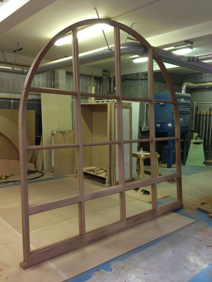8660: 3x3m curved bespoke hardwood window for barn conversion in Cowesby North Yorkshire.