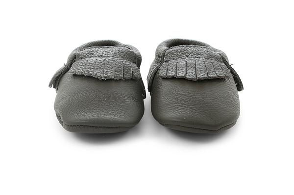 grey leather baby moccassins
