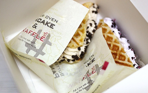 """""""Waffles available for eat in or to-go as street food. Great when warm, and an easy South Korean dessert street food!"""""""