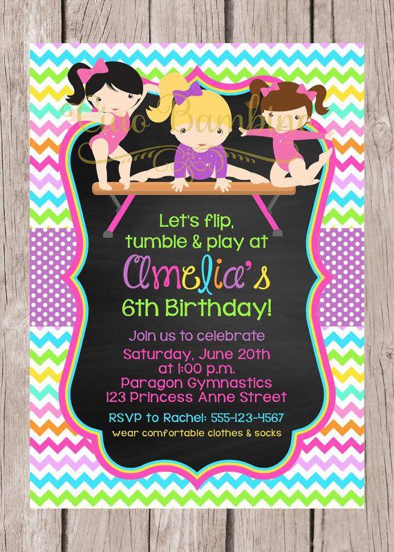 PRINTABLE Gymnastics Birthday Party Invitation / by ciaobambino