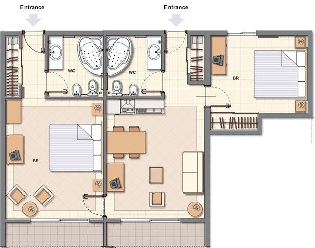 62 best hotel room plans images on pinterest hotel floor for Hotel design layout