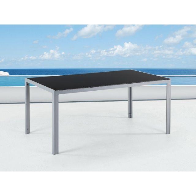Beliani Table de jardin aluminium - plateau en verre 160 cm ...