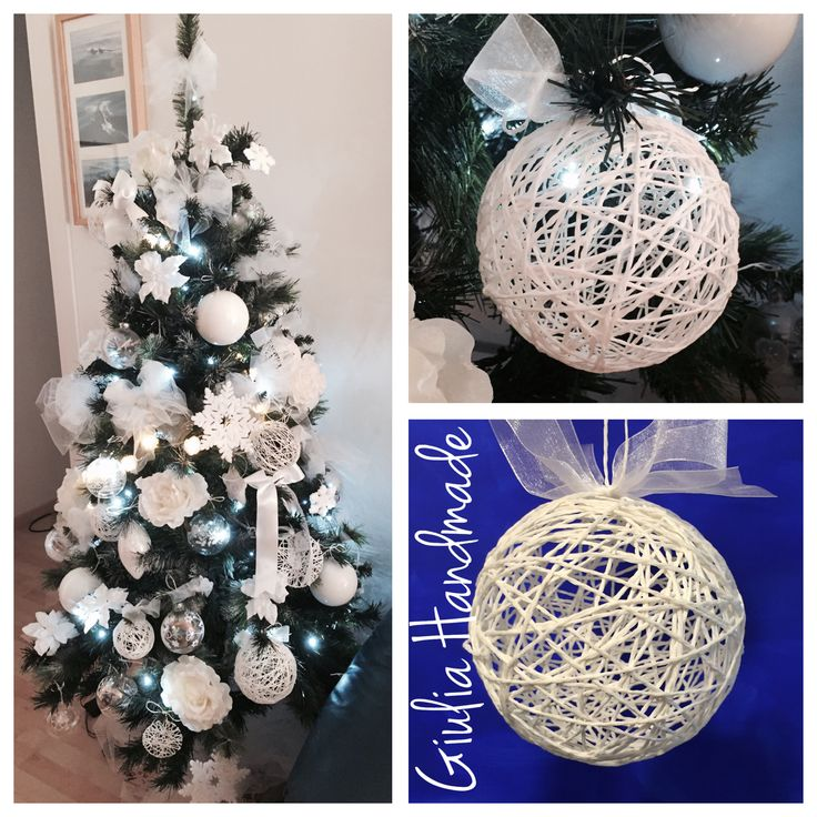 Christmas decoration handmade, christmas tree, rope, ball, palline fatte a mano, handmade, fai da te, Natale, bianco, white