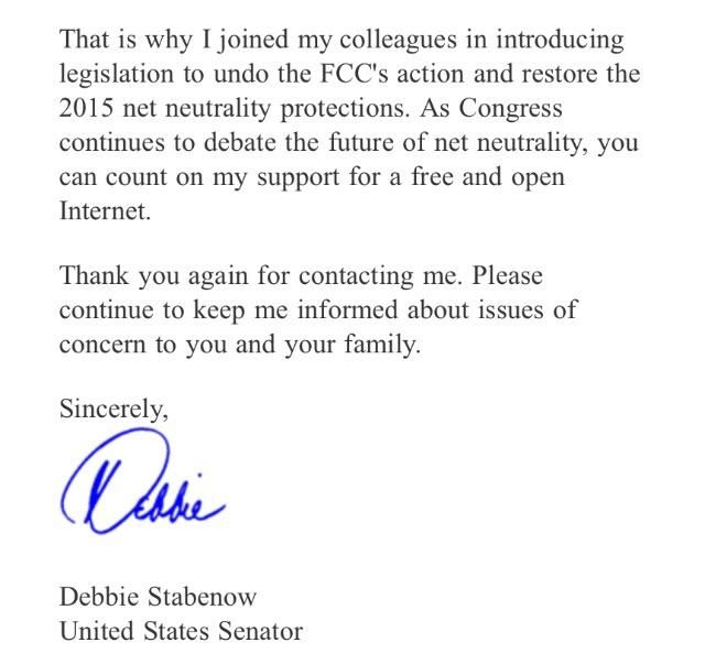I received an email from Debbie Stabenow US Senator about Bet Neutrality