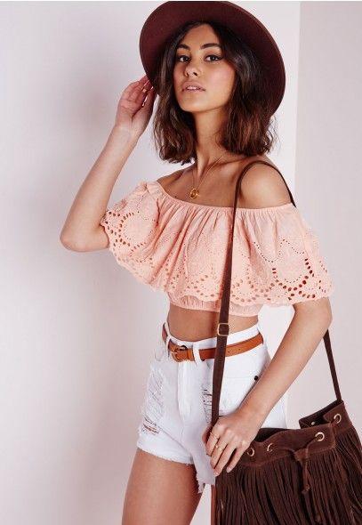 Broderie Bardot Crop Top Pink - Bardot - Tops - Missguided