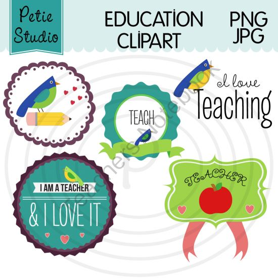 """Bird Theme Education Clipart, Teacher Clipart, I Love Teaching - Objects102 from Petie Studio on TeachersNotebook.com -  (11 pages)  - This listing is for 11 bird theme education clipart images for teachers. This set includes """"I love teaching"""" clipart images for the following subjects: English, math, science, history, art, and music."""