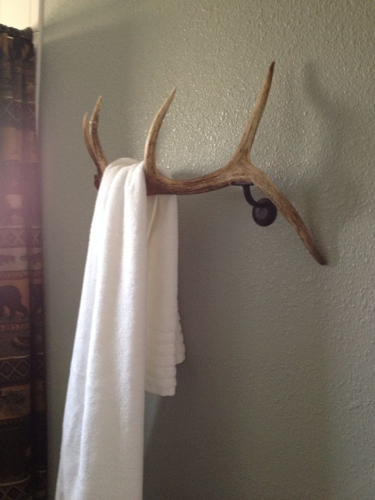 Elk antler for bath towels.