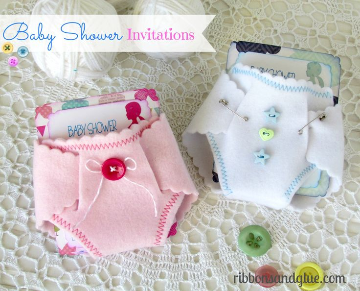 Baby Shower DIY Felt Diaper Invitations.  {ribbonsandglue.com}