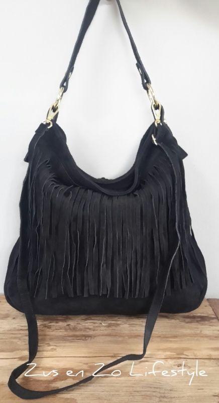 Boho Ibiza franje tas groot zwart | Tassen echt leer | Zus & Zo Lifestyle