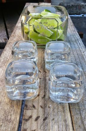 Mini Patron Bottles make up this great upcycled tequila shot glass set and serving bowl. Patron Tequila Bottles are simply gorgeous, fun and