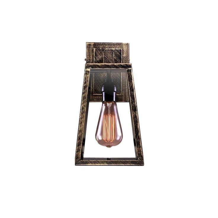 Warehouse of Tiffany 1-Light Taylor Black Wall Light with Rustic Metallic Glass-LD5001 - The Home Depot