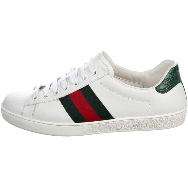 Pre-owned Gucci Ace Web Sneakers (25.495 RUB) ❤ liked on Polyvore featuring men's fashion, men's shoes, men's sneakers, white, gucci mens sneakers, mens white shoes, crocs mens shoes, mens sneakers and mens low tops