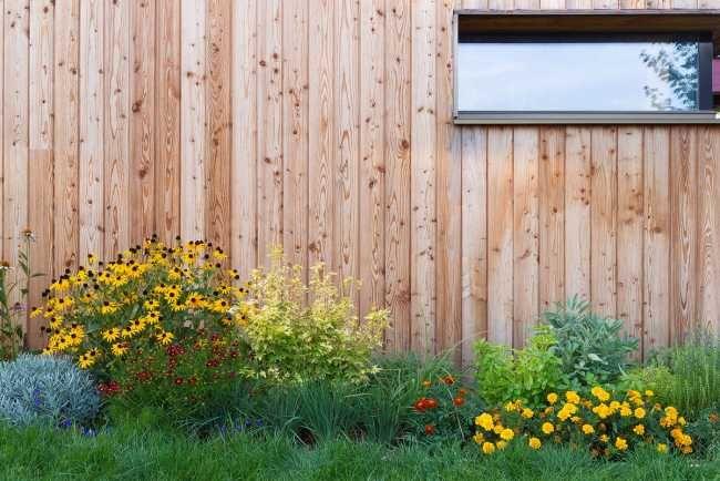 Kvety a zeleň sa nachádzajú v celom blízkom okolí domu.