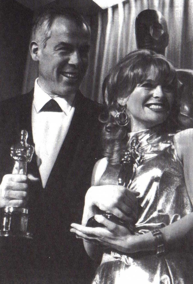 Lee Marvin and Julie Christy with their Oscar academy awards after the Hollywood presentation. They won the best actor and actress awards respectively for ''Cat Ballou'' and ''Darling.'' - 1966