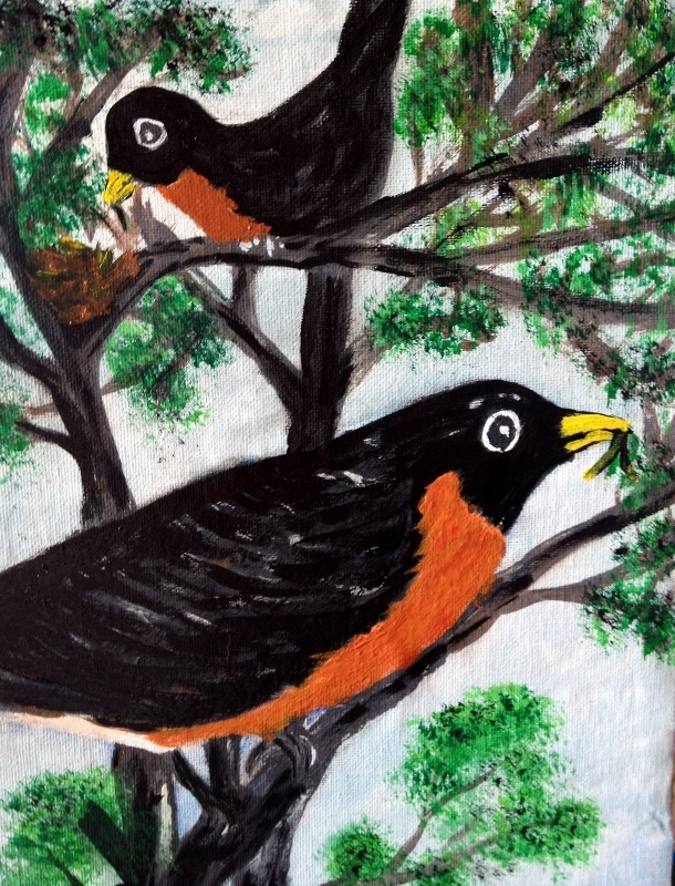 Mr. and Mrs. Robin  Acrylic on canvas   April 8, 2013