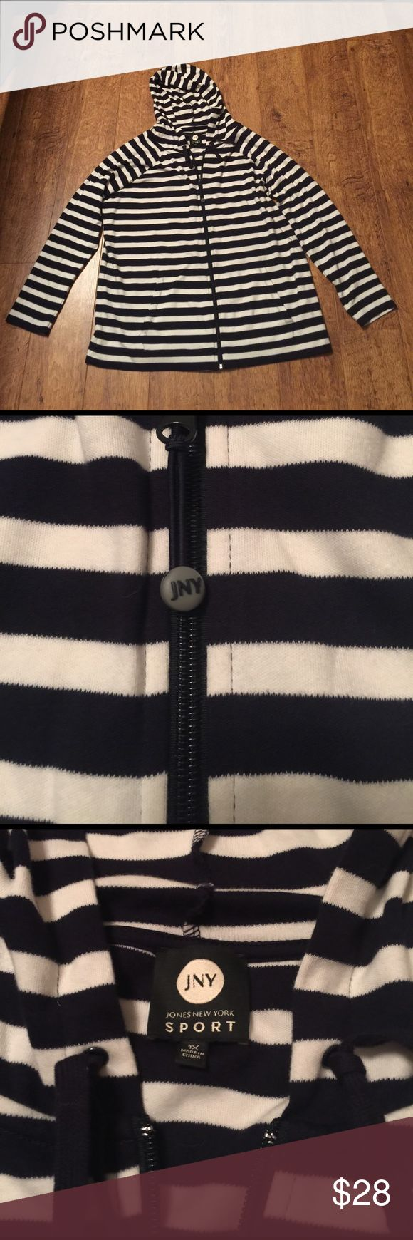 Nautical striped Jones New York Sport hoodie 100% cotton front zip up hoodie! Great for Spring NWOT Jones New York Sport Jackets & Coats