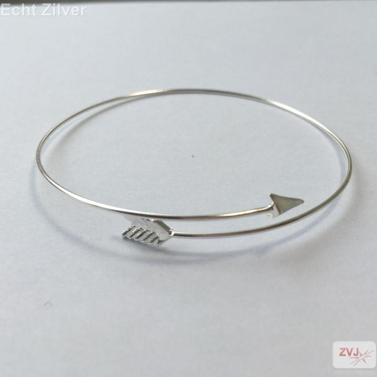 Zilveren iele cuff, bangle pijl armband - ZilverVoorJou Echt 925 zilveren sieraden