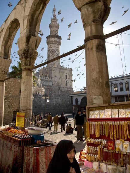 Merchants and craftsmen have sold their wares outside the Umayyad Mosque in Damascus for hundreds of years.