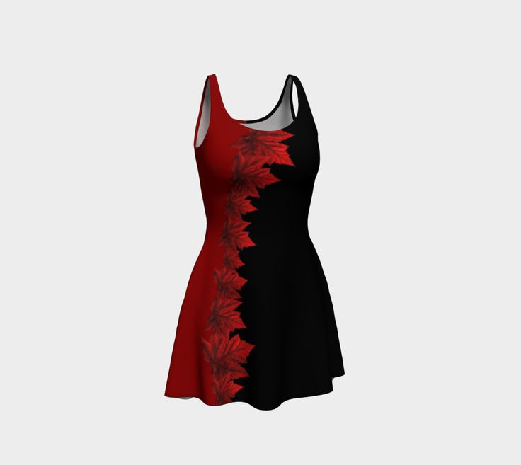 Canada Maple Leaf Dresses Flared or Fitted Canada Dresses for Women & Teams See the Collection: https://artofwhere.com/artists/kim-hunter/collections/2957