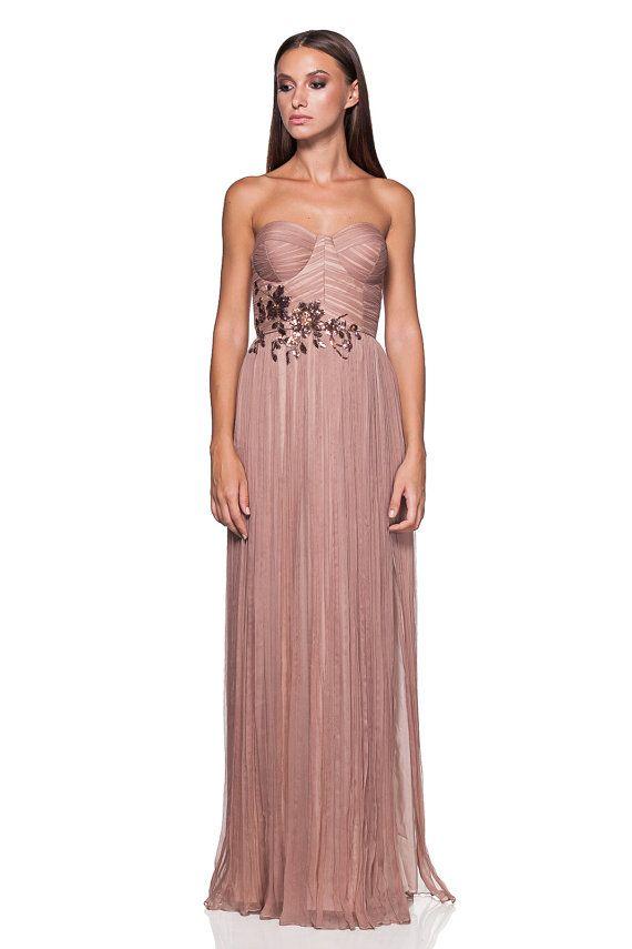 Blush-nude wedding dress - wedding dress - Prom dress - Boho Wedding dress - bohemian wedding dress - bridesmaid dress - couture silk dress