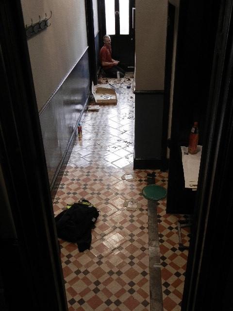 Reproduction Minton tile floor done in Marmoleum