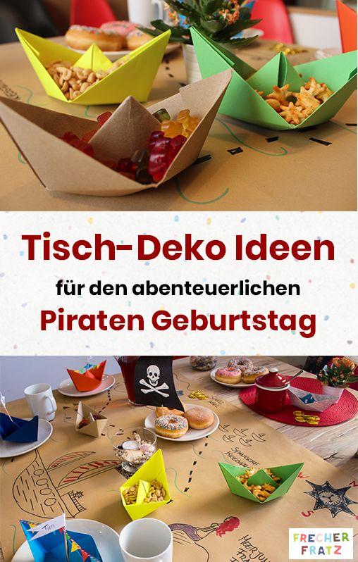 Schöne Tischdeko für den Piraten-Kindergeburtstag zu basteln ist gar nicht schwer. Mit einer coolen Schatzkarte als unterlage und Snackschiffe aus g…