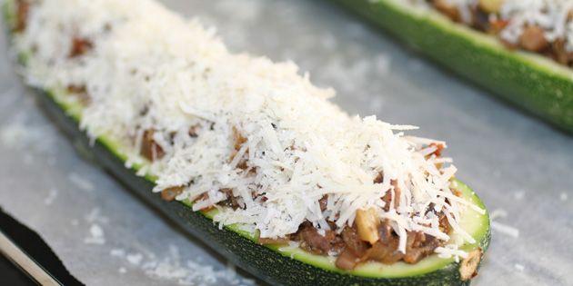 Fyldte squash oksekød og champignon
