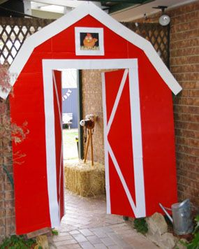 farm yard country barn twin boy birthday party farm barn door covering in the entrance