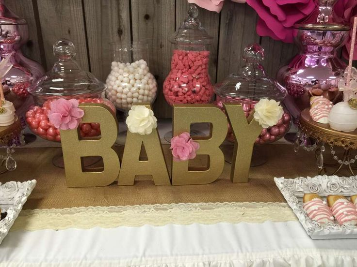 Decorated letters at a pink and gold baby shower party! See more party planning ideas at CatchMyParty.com!