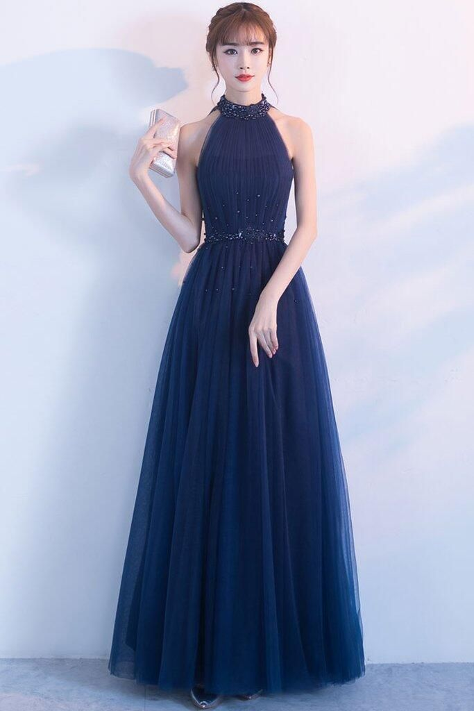 0856a10595 Charming A-Line High Neck Sleeveless Tulle Long Prom/Evening Dress With  Beading by prom dresses, $168.00 USD