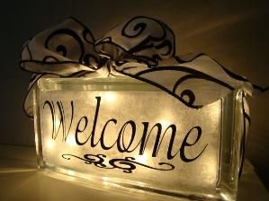 Welcome - Glass Block by maryanne