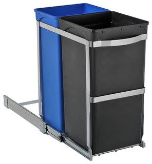 simplehuman® 2-Bin Pull-Out Recycler - Contemporary - Kitchen Trash Cans - other metro - by The Container Store