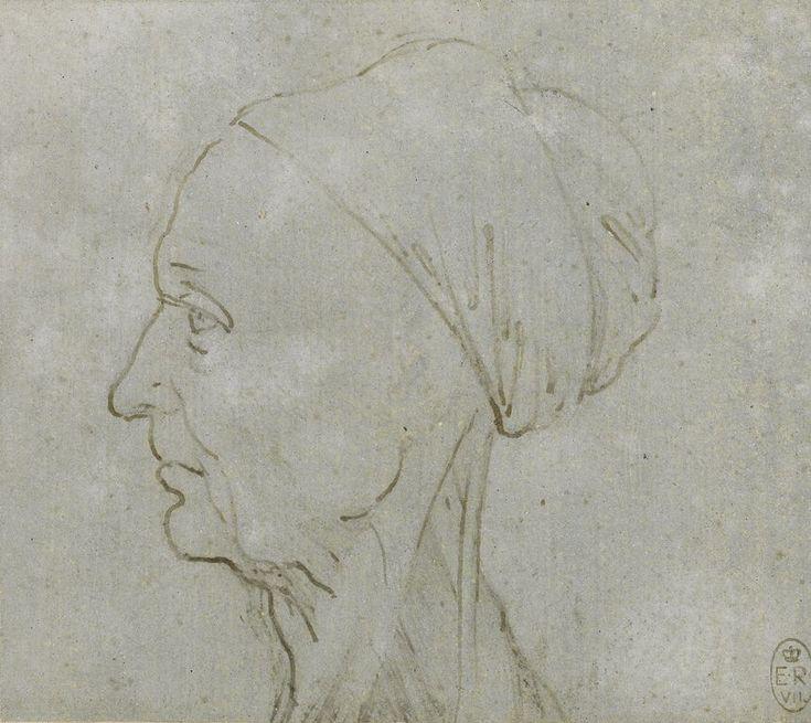 The head of a woman in profile, showing the muscles of the neck  Leonardo da Vinci (Vinci 1452-Amboise 1519)   #TuscanyAgriturismoGiratola