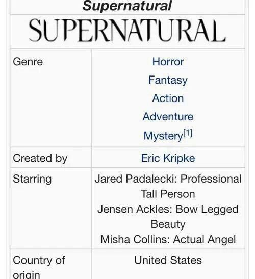 Supernatural Starring: Jared Padalecki: Professional Tall Person. Jensen Ackles: Bow Legged Beauty. Misha Collins: Actuall Angel