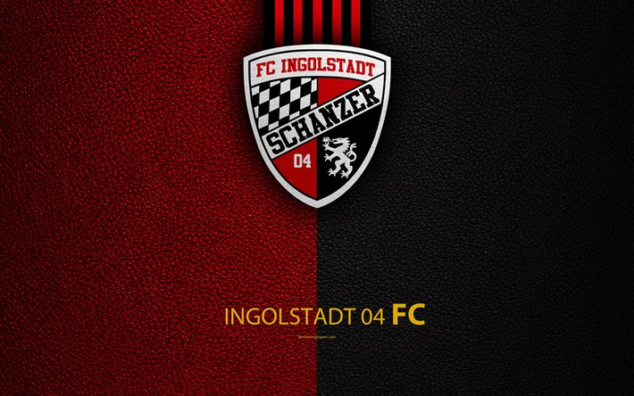 Download wallpapers FC Ingolstadt 04, 4K, leather texture, German football club, logo, Ingolstadt, Germany, Bundesliga 2, second division, football