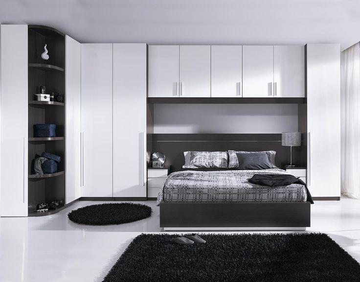 Dormitorio de matrimonio acabado en melamina color ceniza - Dormitorios con puente ...
