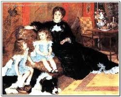 <샤르팡티에 부인과 그의 아이들, 르누아르>  저승사자의 모습을 검은 옷으로 특징지어 표현하였다.  두 아이들은 앞으로 자신들의 운명도 모르고 저승사자가 데려온 죽음의 개에 올라타 있다. 저승사자는 누굴 먼저 데려갈지 흥미롭게 지켜보는 모습이다.