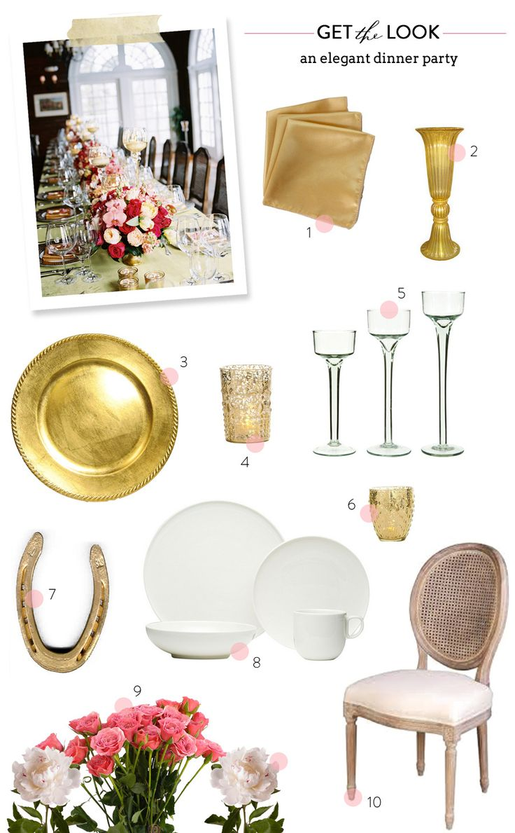 Get the Look: Elegant Dinner Party table setting dinner party