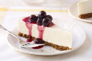 Frozen Lemon Cheesecake with Blueberry Drizzle recipe.   This is awesome!! I don't even like no-bake cheesecakes usually, but this is the exception to the rule.  I added a tablespoon or two of lemonade concentrate to make it more citrusy.