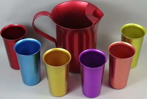 Atomic 60s Vintage Retro Anodized Aluminum Pitcher Glasses Lot Keep Drinks Cold | eBay