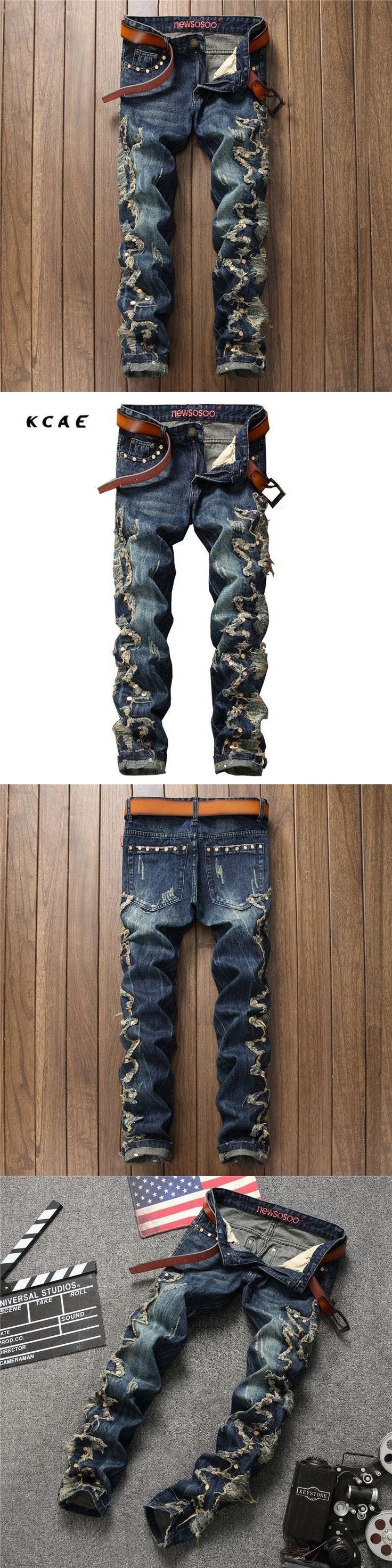 High Quality Hip Hop Embroidery Mens Jeans Slim Straight Holes Men Jeans Pants Rivet Denim Ripped Jeans For Men Size 30-36