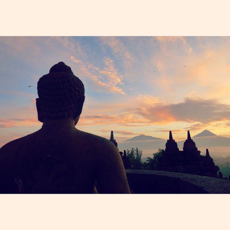 Buddha. Borobudur, Java, Indonésie.