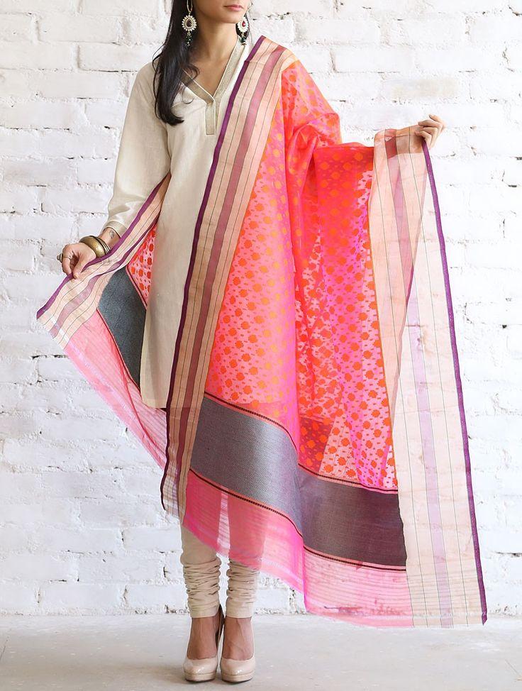 Buy Coral Pink Kora Silk Dupatta by Ekaya Online at Jaypore.com