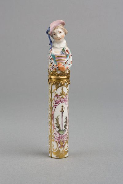 Toothpick or bodkin case and cover  ca. 1759-1772 (made)  1770   Chelsea Porcelain