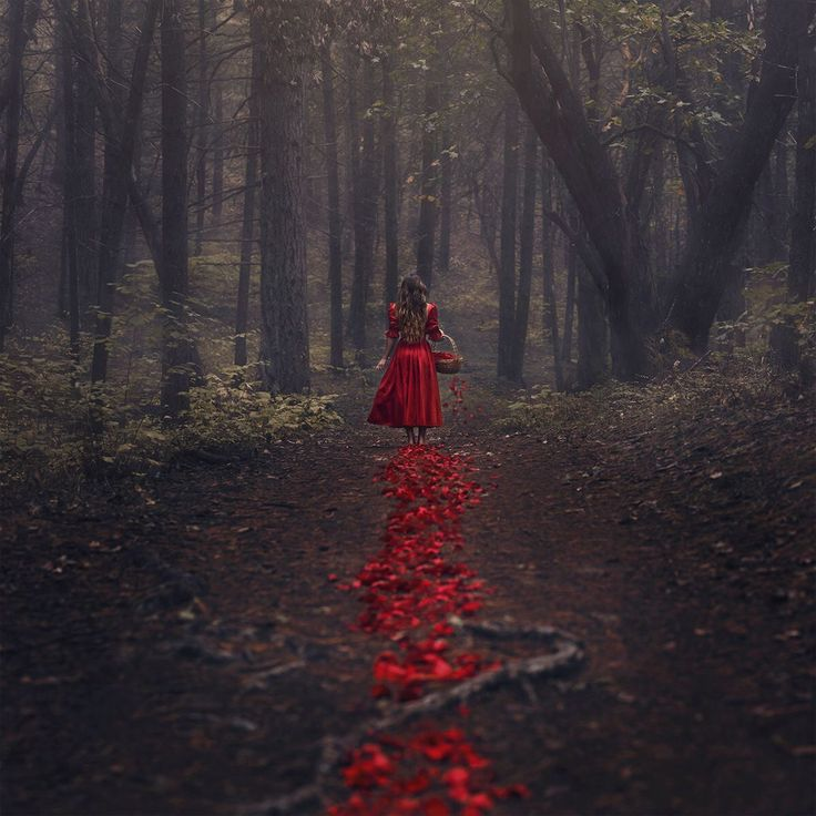This could be used for a writing prompts like this: the girl walked down the ever darkening path, humming merrily as she went, not knowing that her basket full of blood red flower petals had a hole leaking them leaving a clear trail.